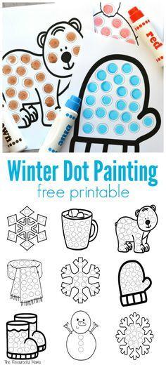 Winter Dot Painting {Free Printable | Dot painting, Winter ...