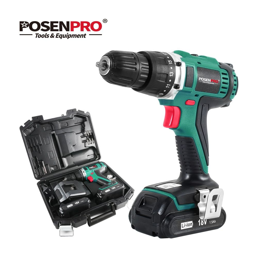 Posenpro 18v 45nm Dc Lithium Ion Battery 3 8inch 2 Speed Electric Cordless Drill Mini Electric Screwd Cordless Drill Lithium Ion Batteries Electric Screwdriver