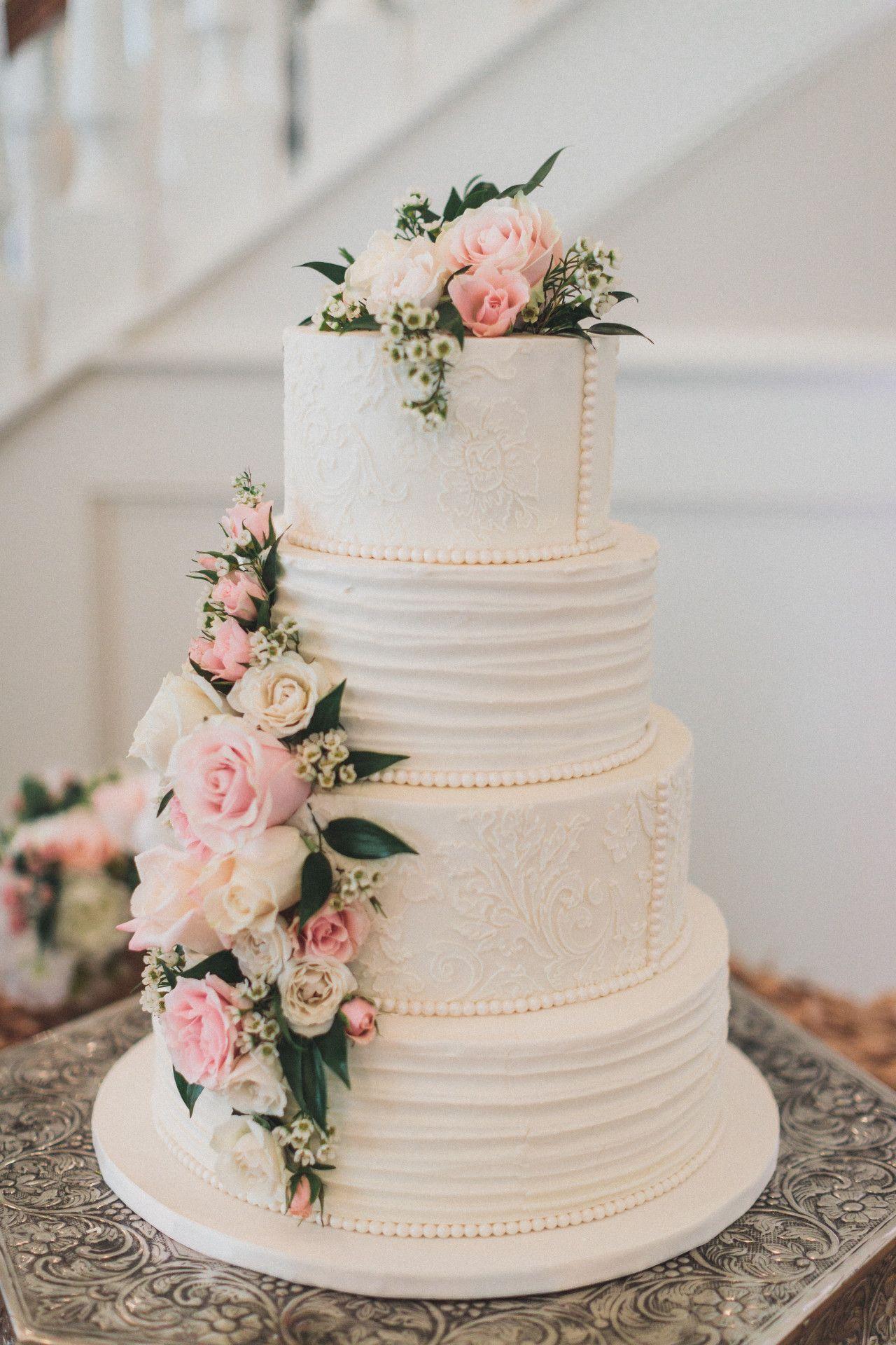 Elegant wedding cake lace pearl wedding cake blush pink