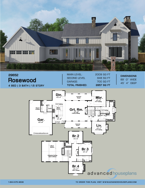 Captivating 1.5 Story Modern Farmhouse Plan | Rosewood Ideas