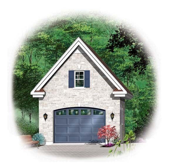1 1 2 Story Two Car Garage With Loft Storage: 1 Car Garage Plan Number 64836