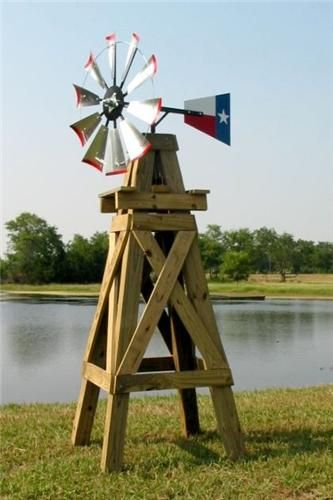 Attractive 8 Lonestar Decorative Windmill With Texas Flag Rudder   Davids E Stove Shop  $269.00