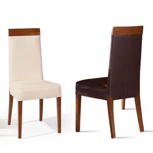 silla de comedor tapizada con polipiel beige marr n
