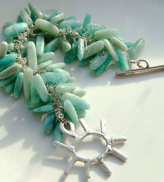Amazonite & 925 Silver Cluster Bracelet with by DormouseDesigns, £56.00