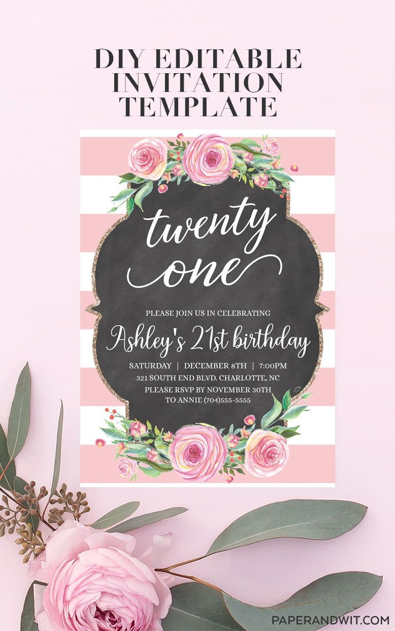 21st Birthday Invitations Instant Download 21st Birthday Etsy 21st Birthday Invitations Printable Birthday Invitations Birthday Invitations Girl
