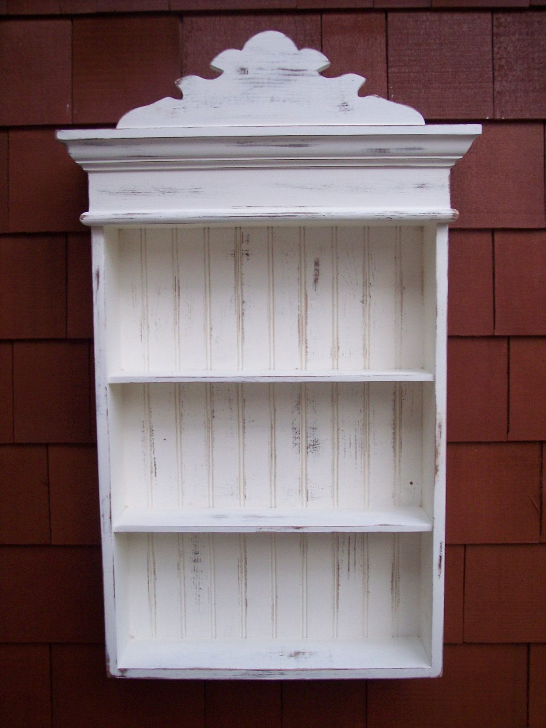 Wooden bathroom cabinet - Distressed White Cabinet Bathroom Cabinet Kitchen Cabinet Hanging Wall Cabinet Shabby Chic