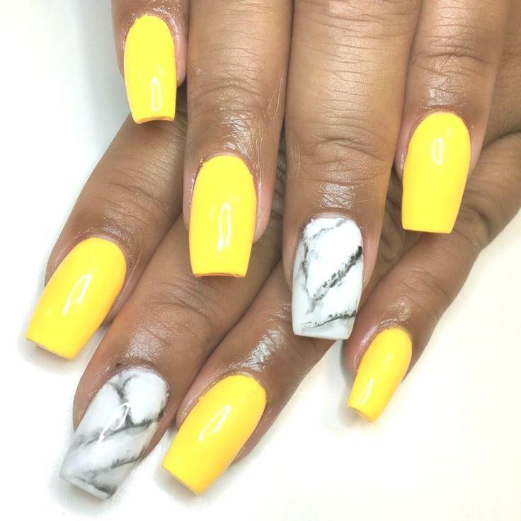 #Acryl #Acrylnägel Marmor #Marmor #Nägel #Gelb Acrylnägel Marmor Gelb …