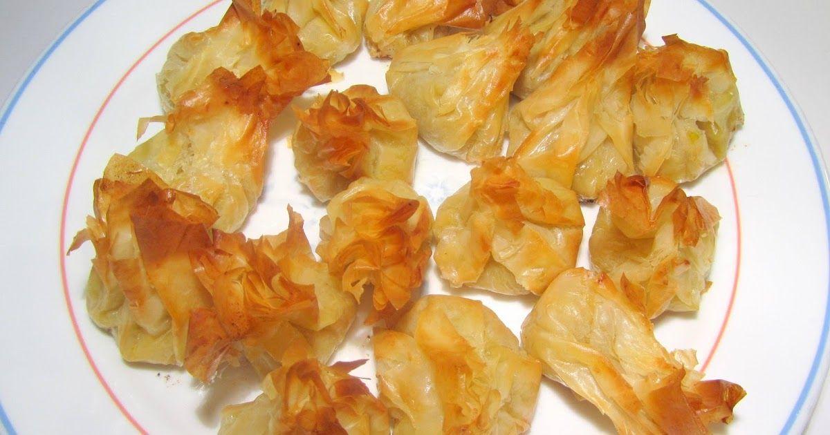 Bolsitas de pasta filo rellenas de puerros, toque de queso y gambas          Ingredientes para 15 unidades:  Pasta filo  2 puerros la parte ...
