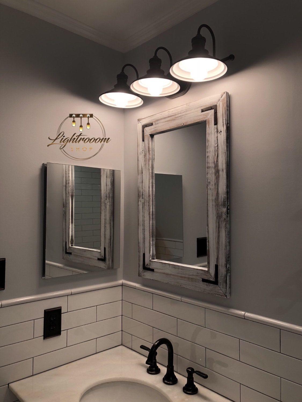 Whitewash Mirror Bathroom Wood Frame Mirror Rustic Wood Mirror
