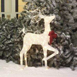 "Holiday Time 48"" White Glittering Mesh Buck Light Sculpture"