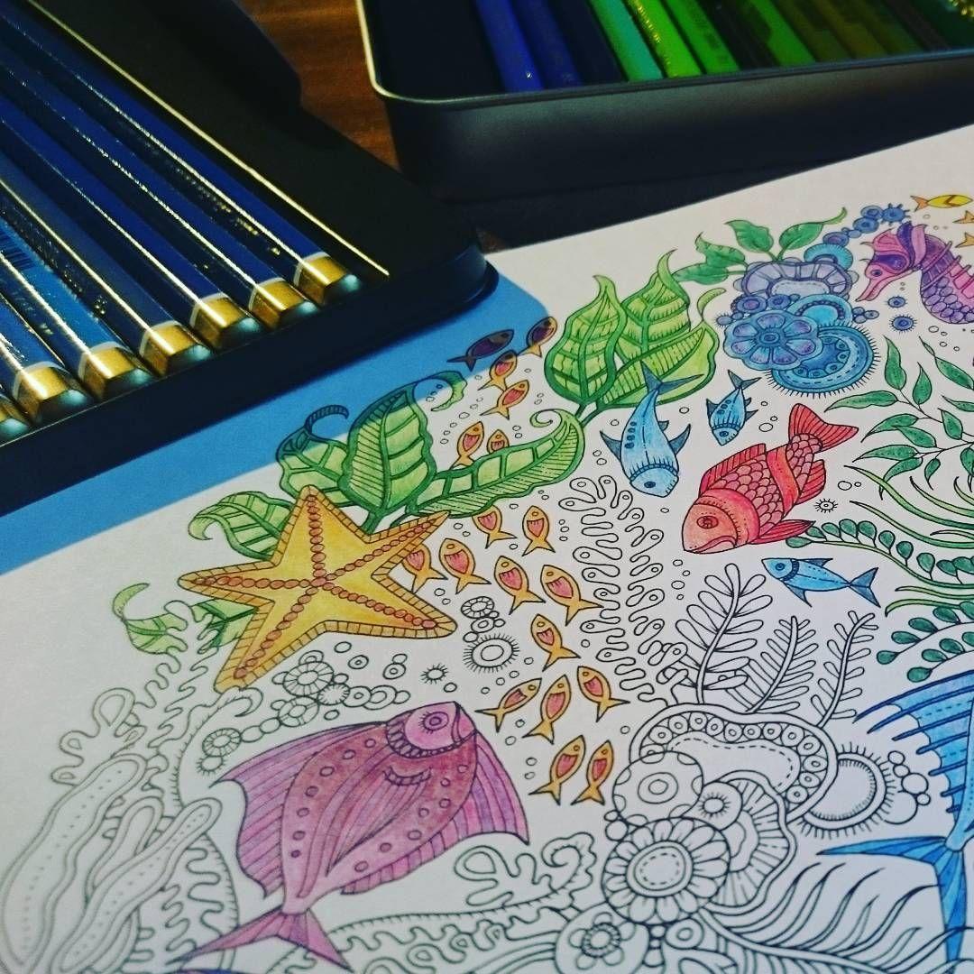 """#workinprogress  #malenfürerwachsene #meinphantastischerozean #johannabasford #adultcoloringbook #adultcolouring #mandala #kohinoor #buntstifte"""""""