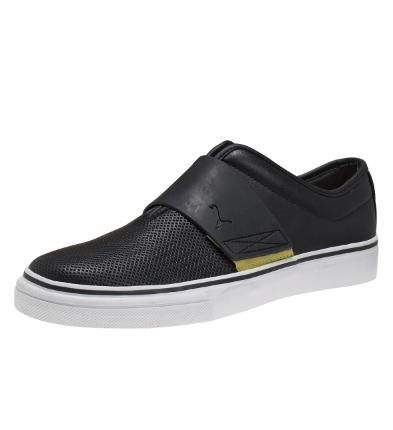 El Rey Cross Perforated Slip-On Leather Shoes in Black-Celery #PUMA #