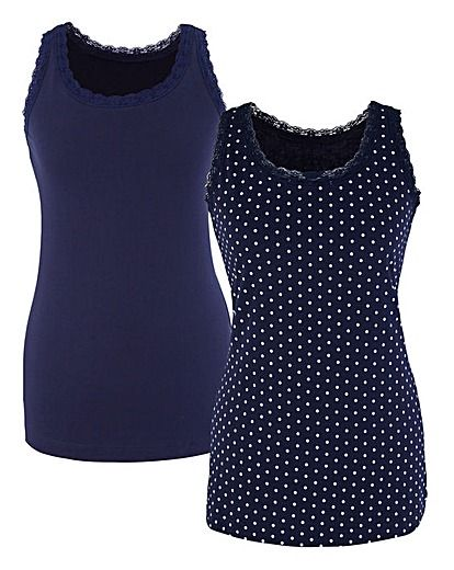 Pack Of 2 Print Jersey Vests | Simply Be