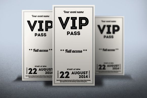 Clean retro style VIP PASS card – Free Vip Pass Template