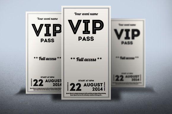 Clean Retro Style Vip Pass Card By Tzochko On Creative Market Twinsnextdoor Vip Pass Vip Pass Invitation Template Vip Card