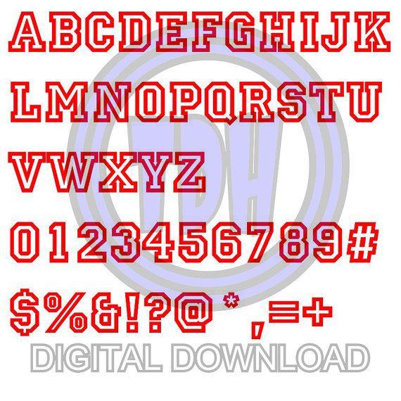 Digital Download Sports Jersey Alphabet Font SVG DXF EPS