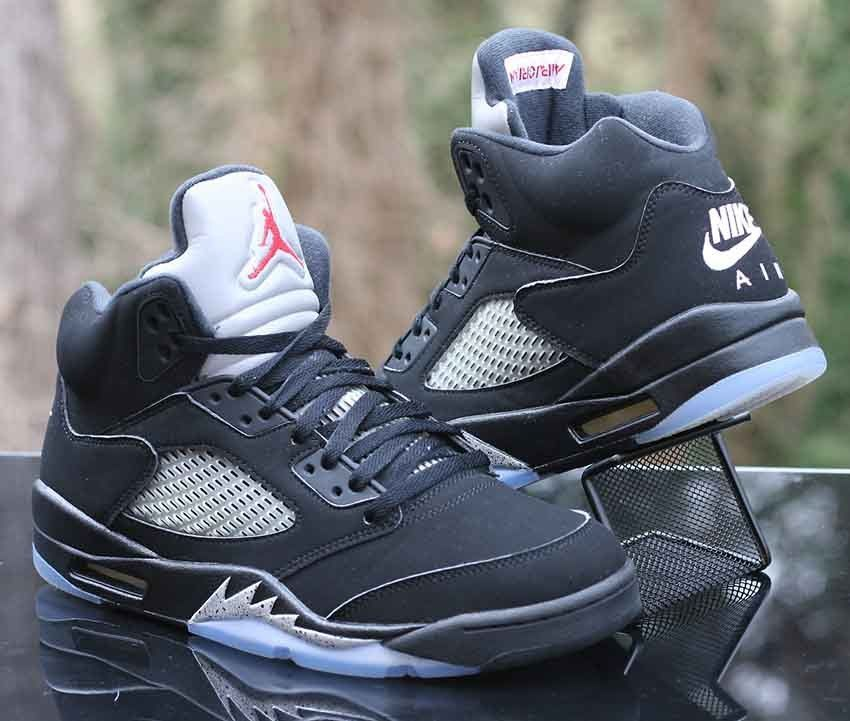 030410a702c88a Nike Air Jordan 5 V Retro OG Black Metallic Silver Red White 845035-003  Size 9.5  Nike  BasketballShoes
