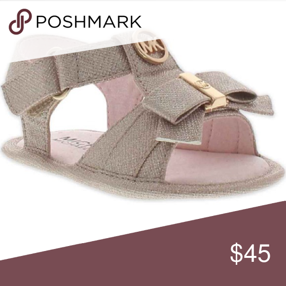 Michael Kors Sandal | 3-6m product info the michael kors ada kids' sandal has a stylish look and comfortable design for your little one neutral styling with rose gold detailing and mk logo front bow adds a feminine touch adjustable strap for easy on and off MICHAEL Michael Kors Shoes Sandals & Flip Flops