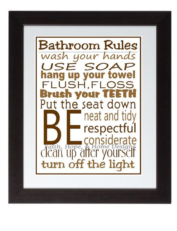 Bathroom Rules Wall Art Poster 8x10 Digital Printable By FaithHopeNHome