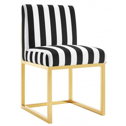 Black White Stripe Velvet Chair Gold Legs Velvet Chair