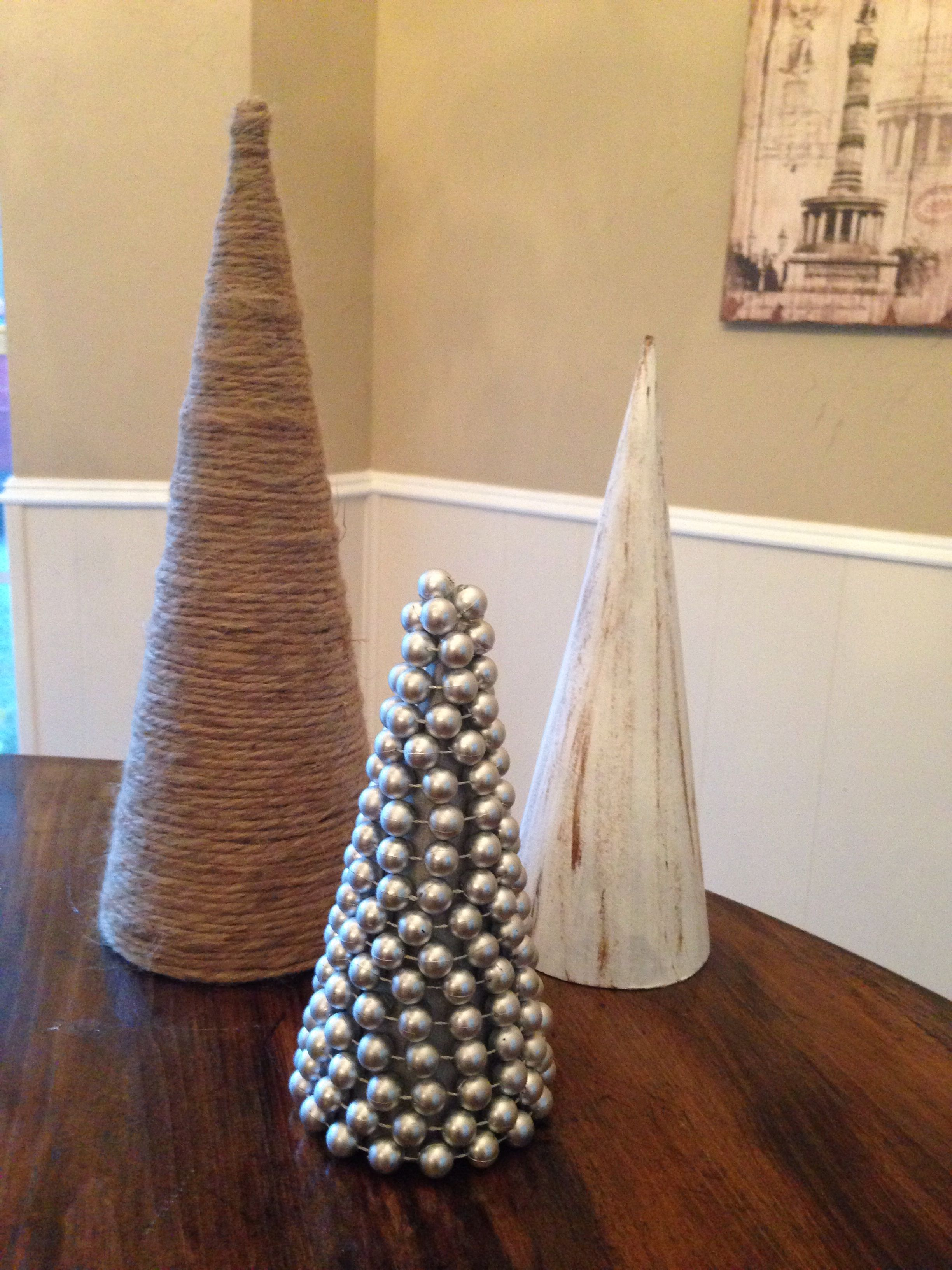 Christmas Tree Diy Using Michael S Paper Mache Cones Rope Paint And Beads Easy Cardboard Christmas Tree Paper Mache Cone Cone Christmas Trees
