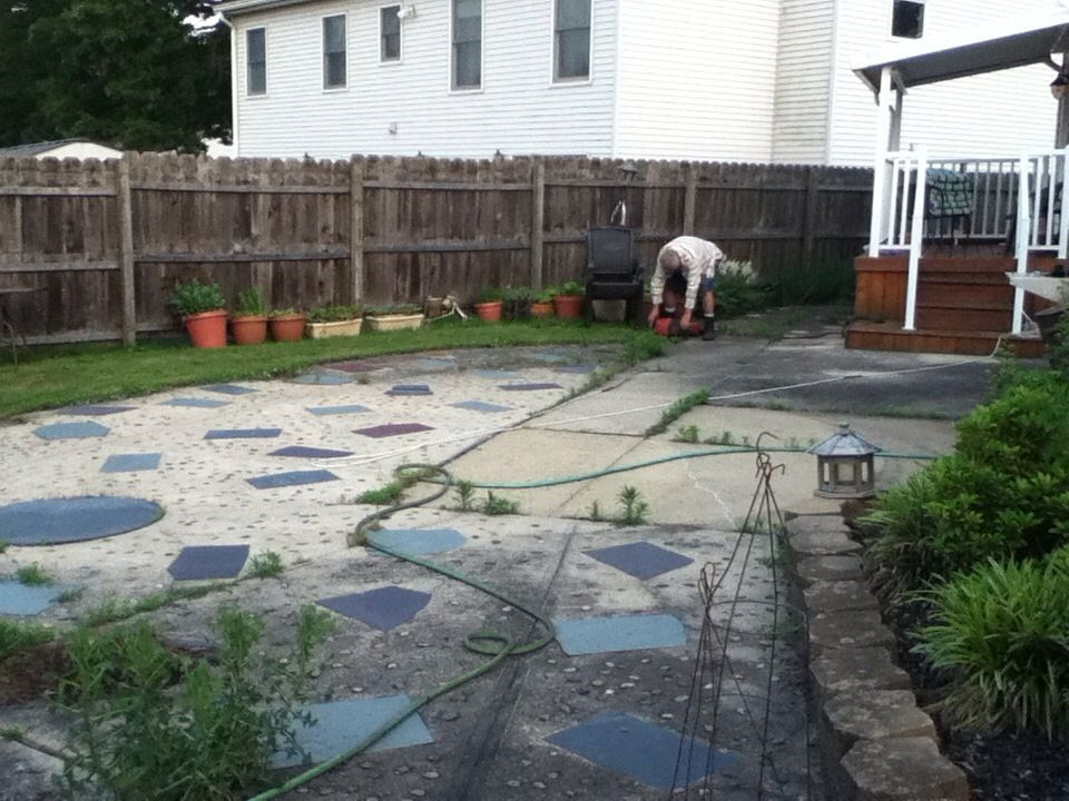 1 My ugly concrete patio before removal | Judicska\'s Backyard ...