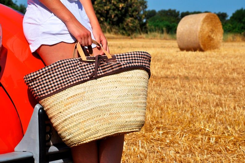 Photo of Borsa di paglia fatta a mano con maniglie in pelle – ref 19, cesto di paglia, borsa del mercato francese, borsa portaoggetti estivi, cesto francese, cesto