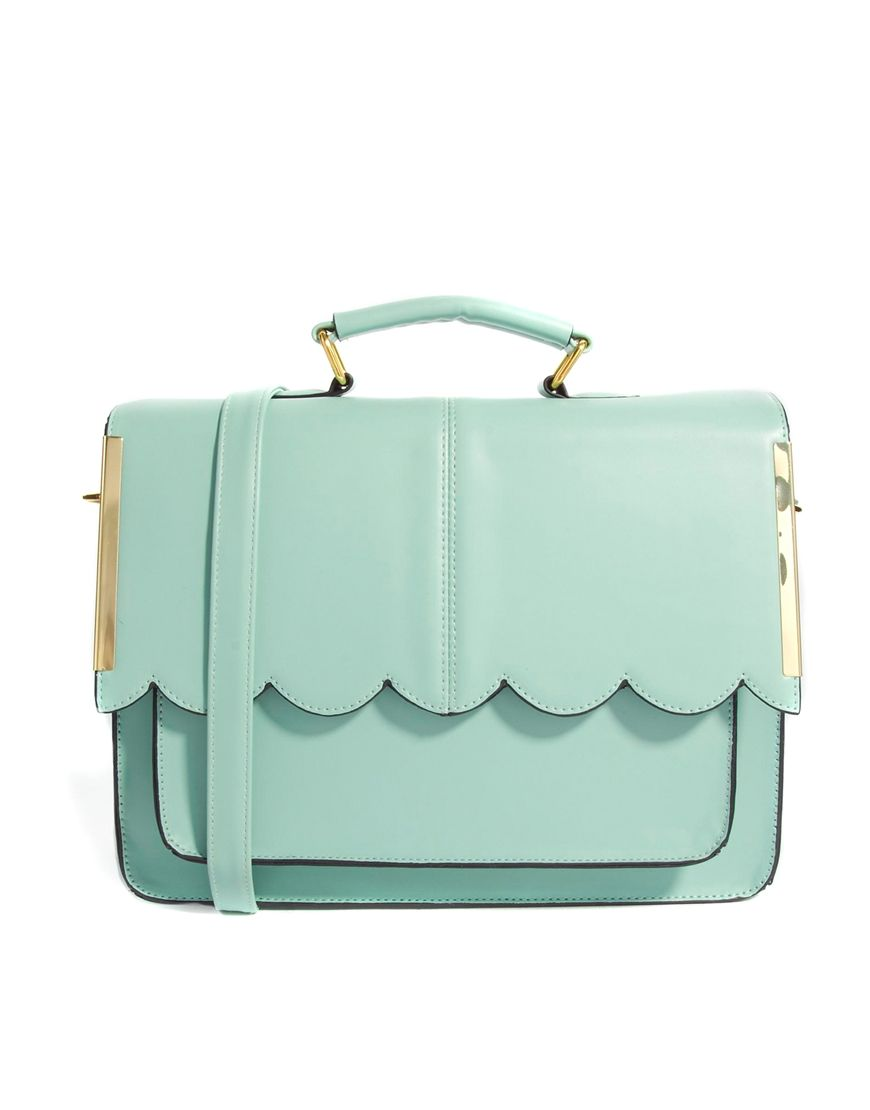 ASOS Satchel Bag With Scallop Bar Detail at asos.com