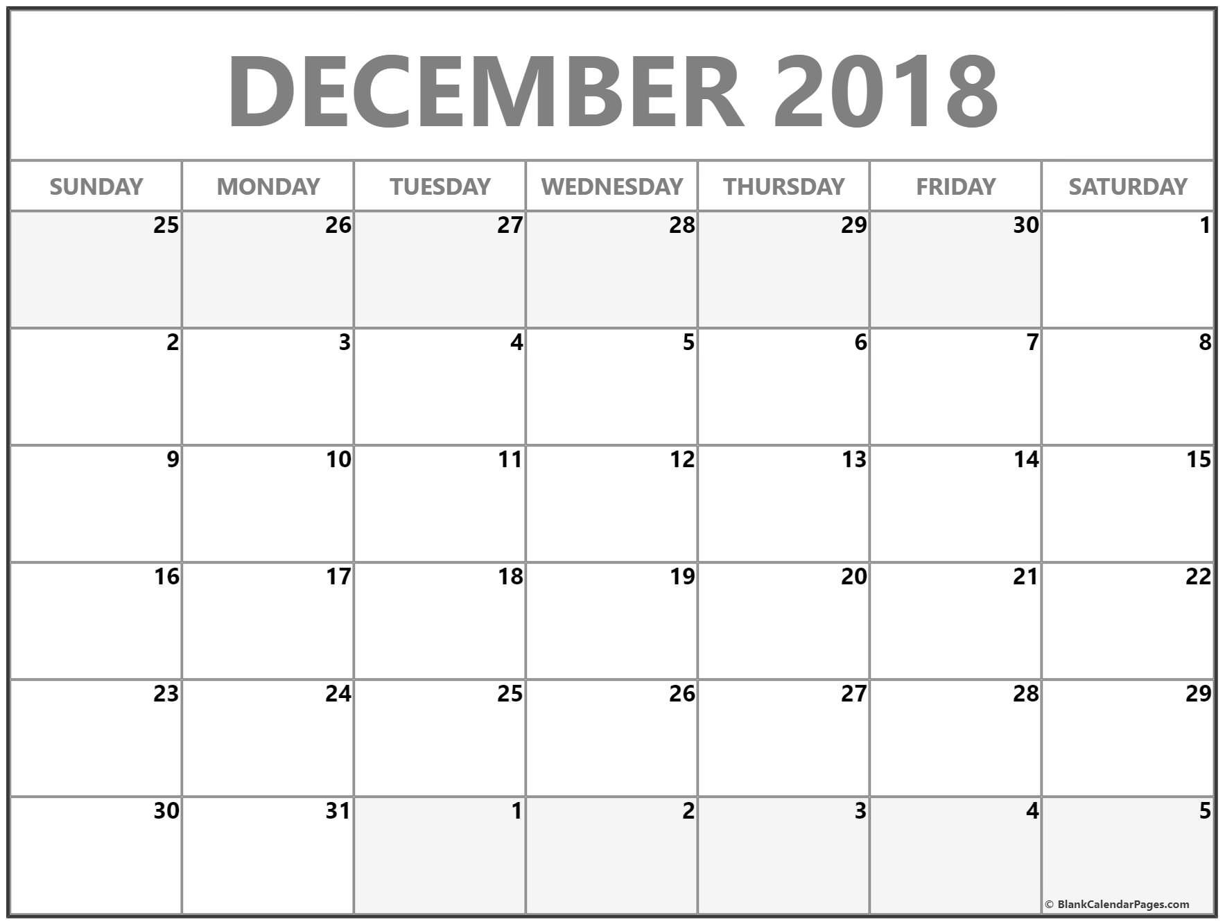 december 2018 blank monthly calendar template printable calendars