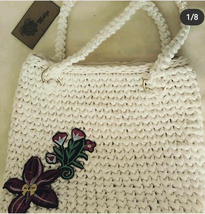 Bolsa de croche branca