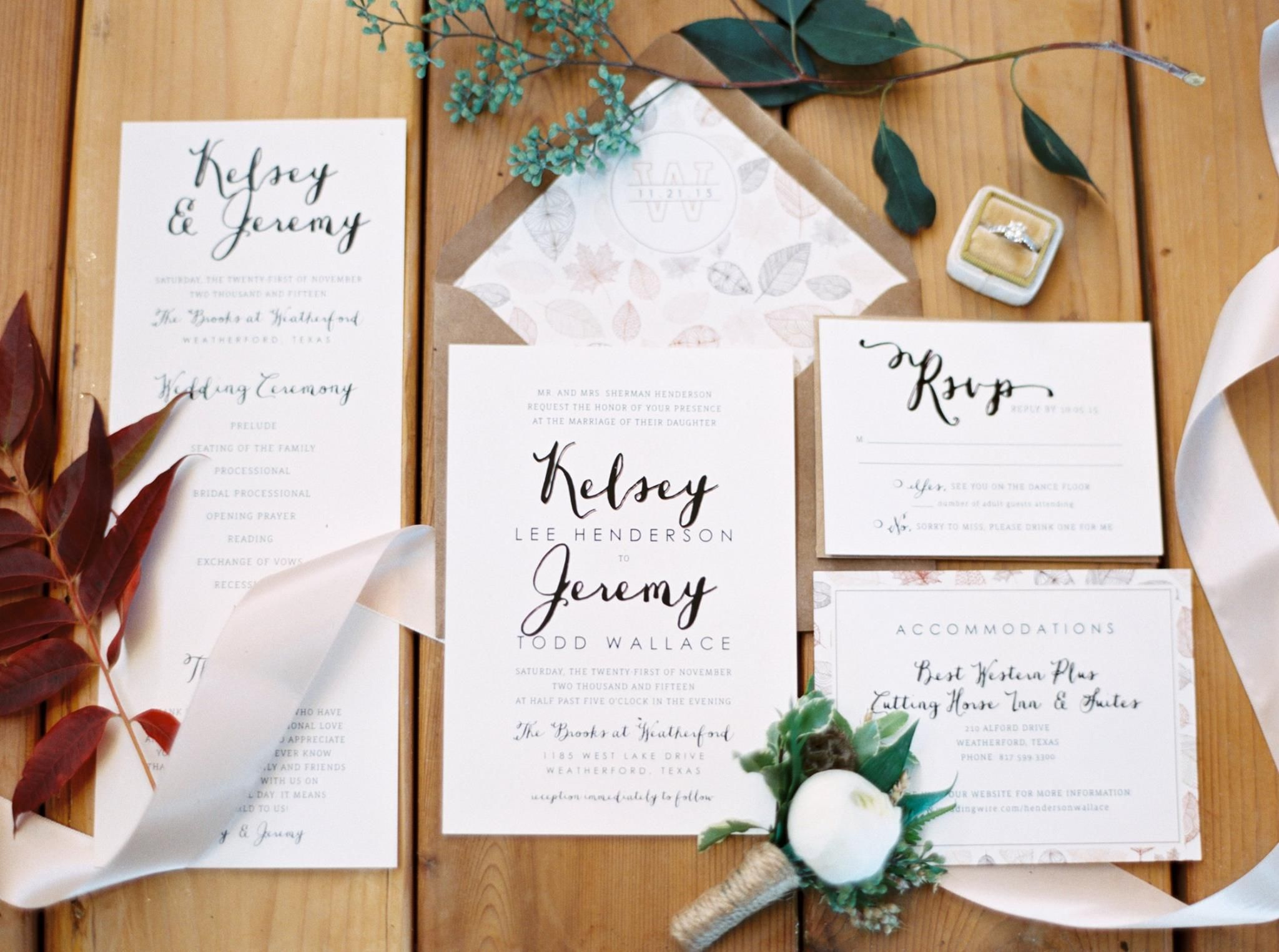 natural wedding simple wedding invitations fall wedding | Invitation ...