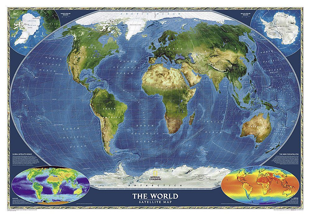 World Satellite Laminated By National Geographic Maps National - National geographic world maps for sale