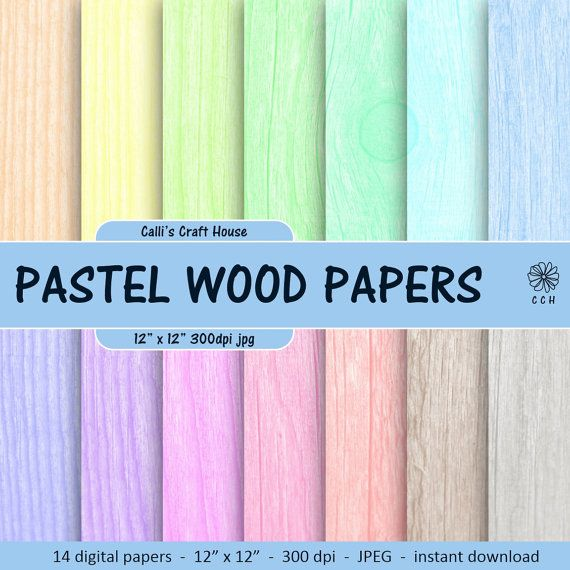 Pastel Wood Texture Digital Papers - wood background papers in 14 soft pastel colors - pastel background - Commercial Use - Instant Download #woodtexturebackground