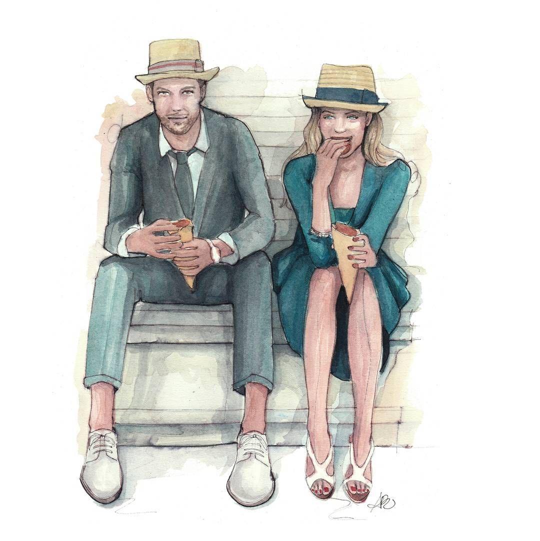 Couple illustration by Pinodesk #watercolor #illustration #pinodesk
