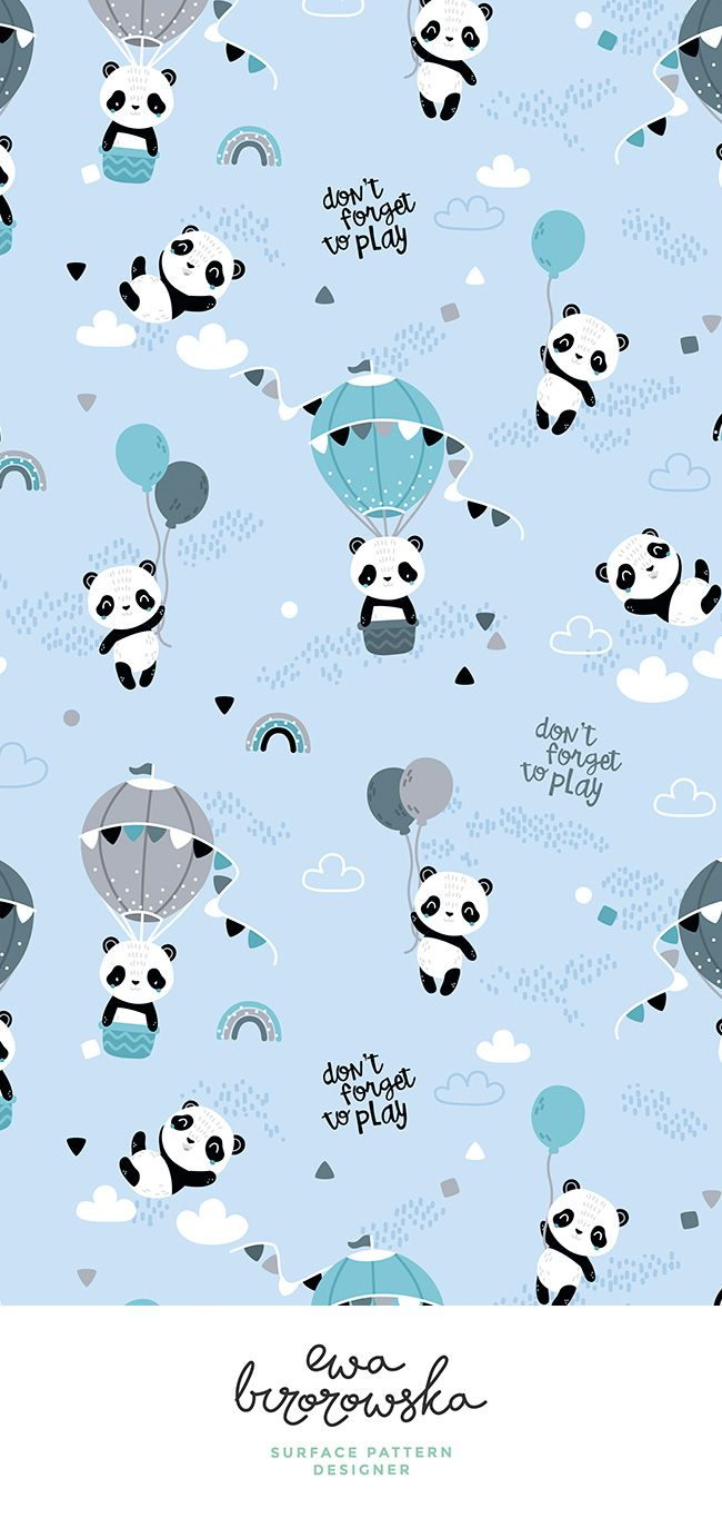 Colorful fabrics digitally printed by Spoonflower - Playful pandas - BIG - blue mint