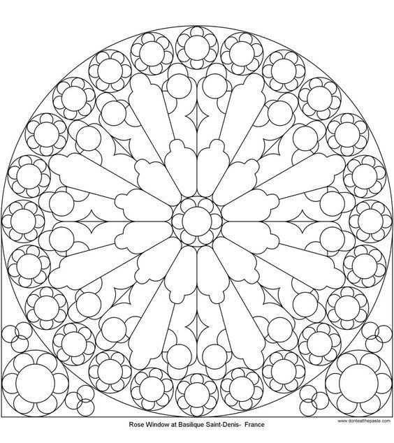 Rose Window At St Denis To Color Mandala Coloring Mandala