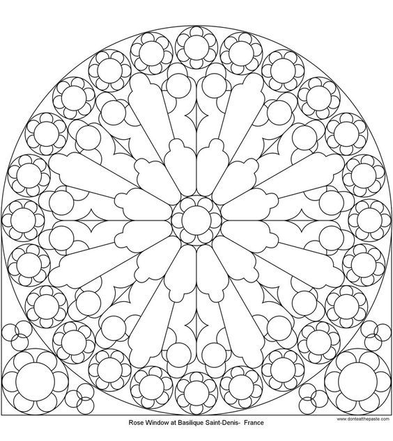 Rose Window At St Denis To Color Mandala Coloring Mandala