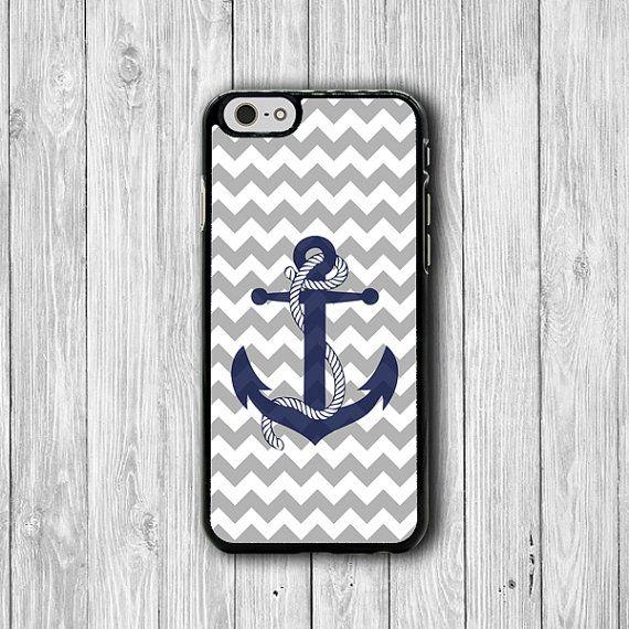 Grey Chevron Art Anchor iPhone Cases Geometric iPhone 6 Cover, iPhone 6 Plus, iPhone 5, iPhone 4S Hard Case, Rubber Deco Accessories Gift
