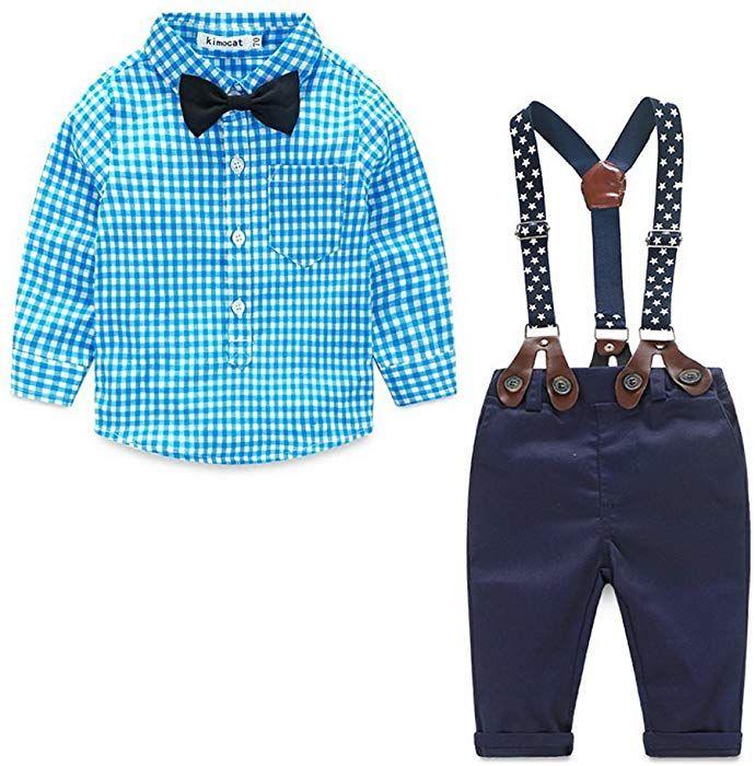 407c67fa90 ... Kind von Claus. ARAUS-Baby Jungen Bekleidung Set Hemd Hose mit  Hosenträger langarm karierte Hemd mit Fliege Latzhosen