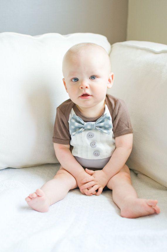 Brown and Grey Baby Boy  Tuxedo Onesie With Cream Polkadots $25
