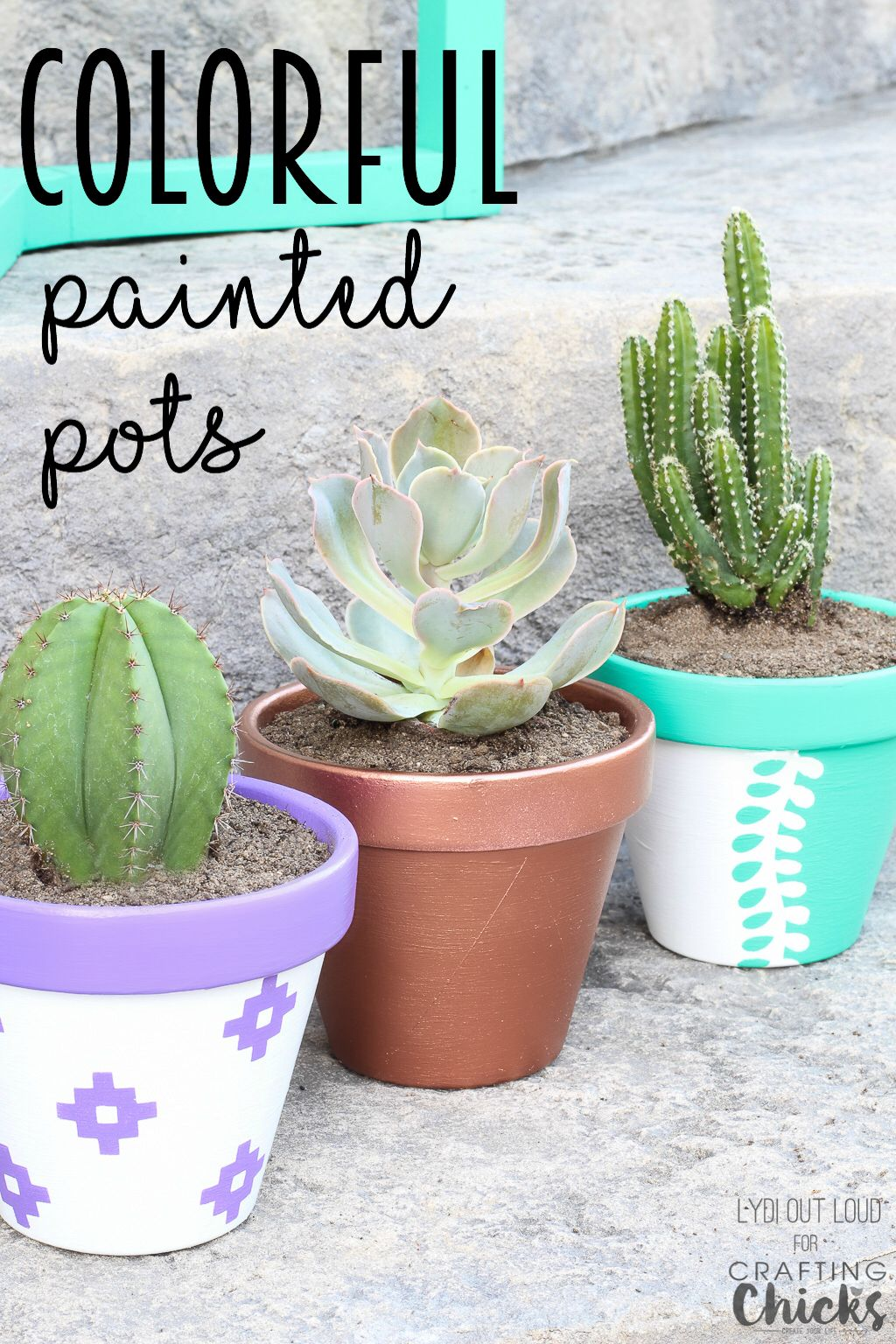 clay pot color ideas Colorful Painted Clay Pots for Summer Planting  Painted clay pots