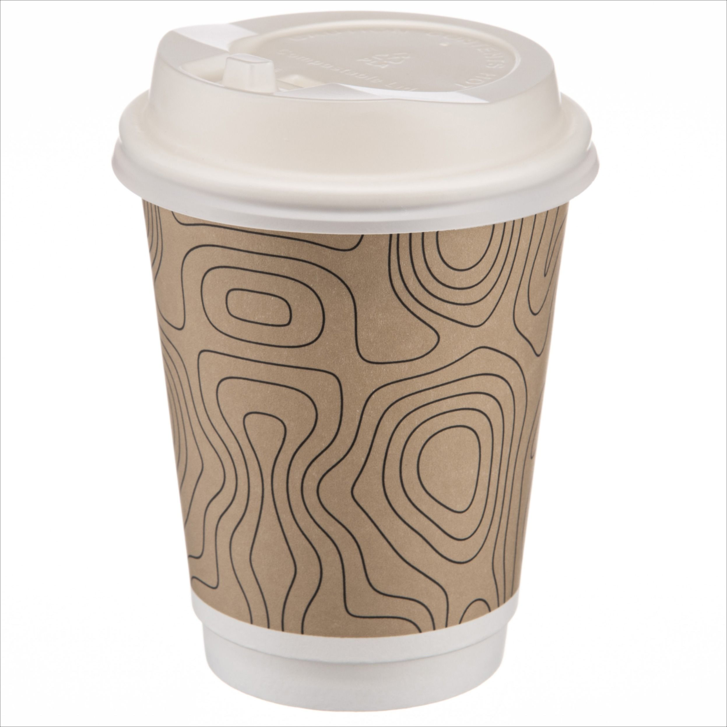 Disposable coffee cups with lids 12 oz triple walled