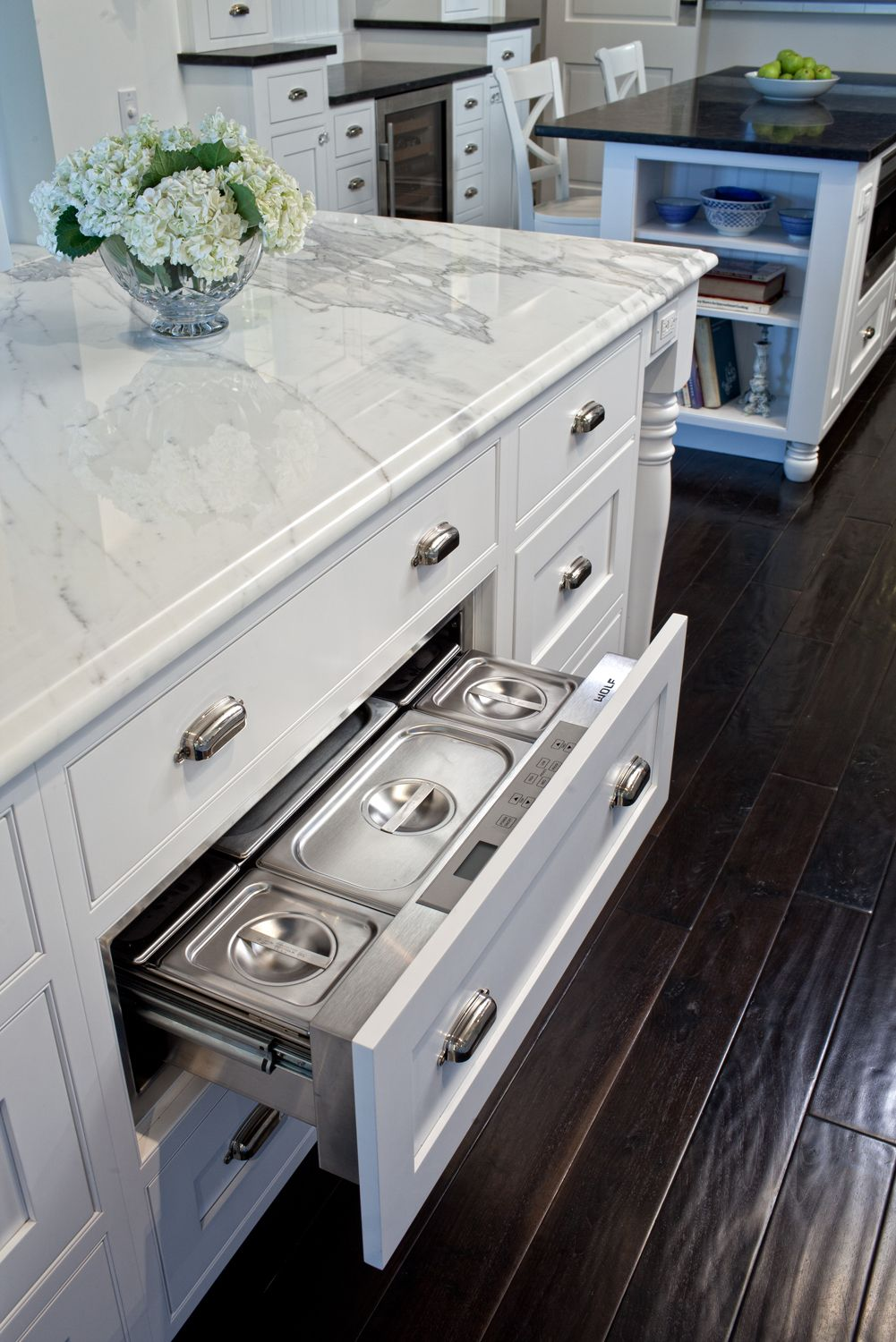 Refrigerated storage drawer, White cabinets, white marble counter ...
