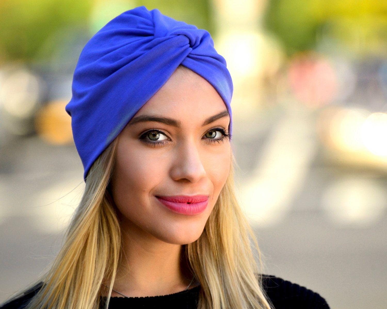 Knotted Head Stretch Wrap Turban  SKULL CAP royal blue