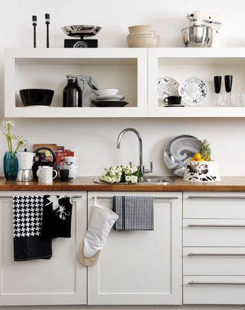 Cocinas Estantes Abiertos Cocina Blanca Y Negra Estanterias De Cocinas Abiertas Cocinas De Casa