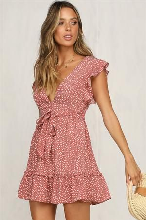 Floral Chiffon Boho Deep V Neck Backless Dress Short Vintage Flower Prints Evening Gowns Bridesmaid Summer Beach Mini Dress Woman Spaghetti Strap Cross #shortbacklessdress