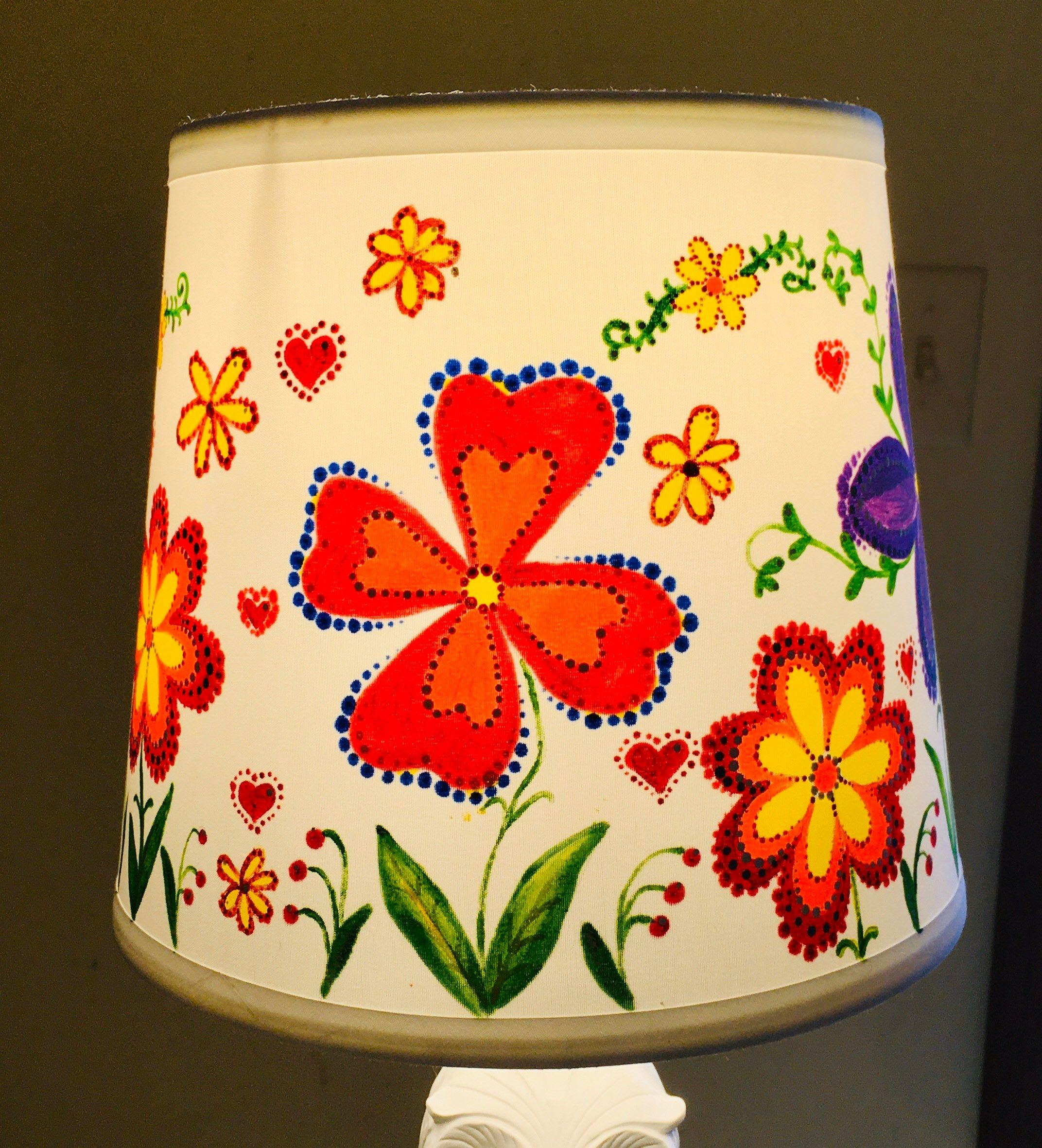 Spring Flowers Hand Painted Lamp Shade Colorful Floral Etsy In 2020 Painting Lamp Shades Painting Lamps Floral Lampshade