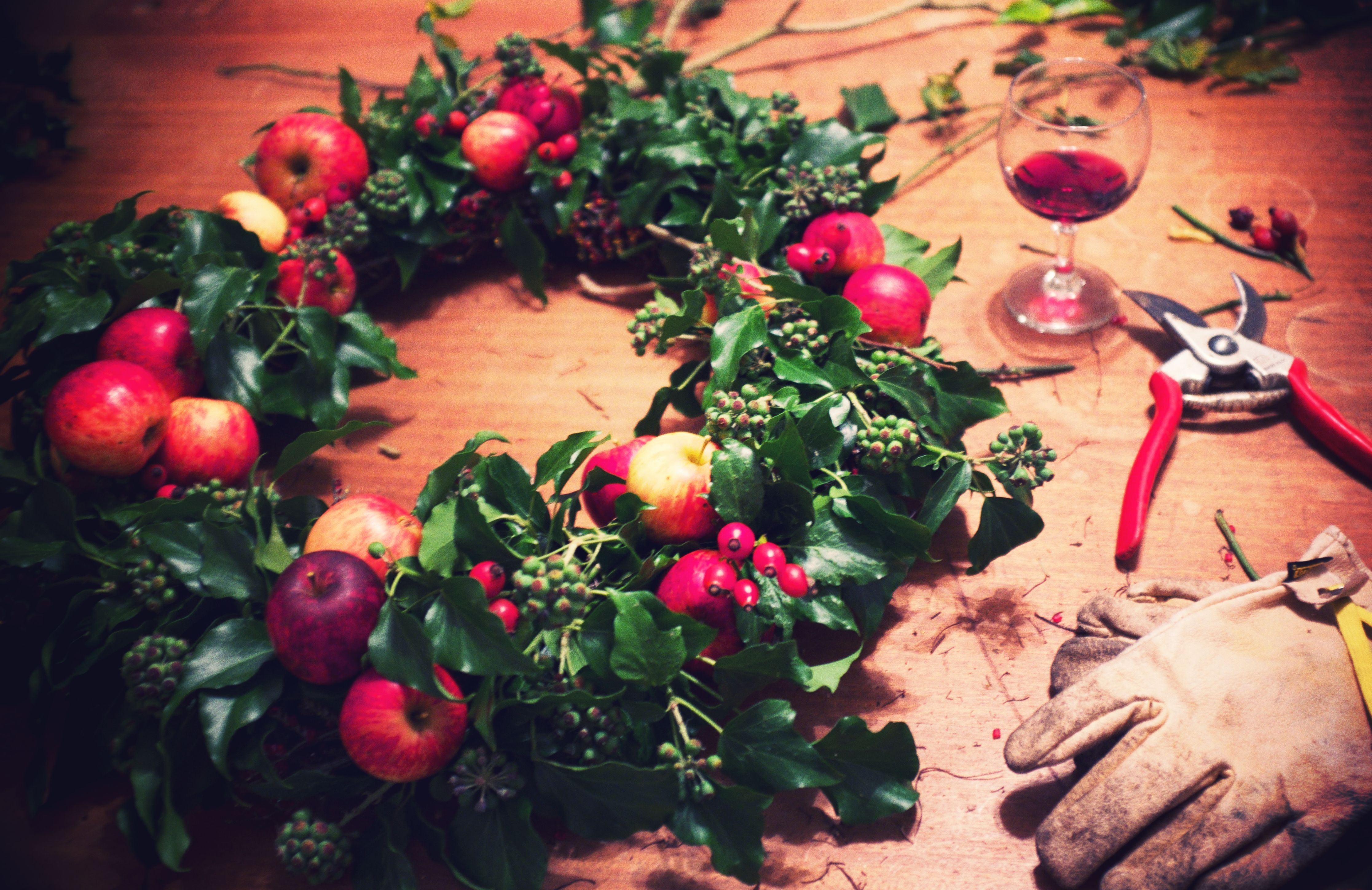home made Christmas wreath. Wild apples & ivy. Wine optional