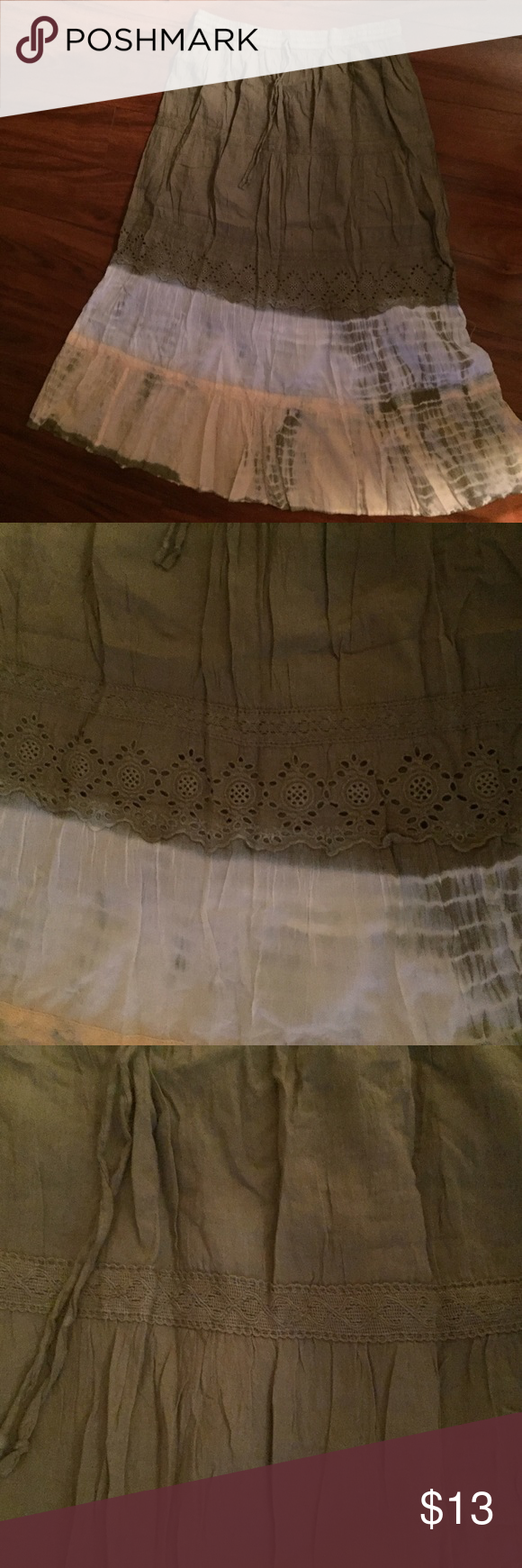 Long Skirt Beautiful detailed long skirt. Elastic waist band. Gently used. Home is pet and smoke free. Last picture shows stains.  100% Cotton Size: Large Skirts Maxi