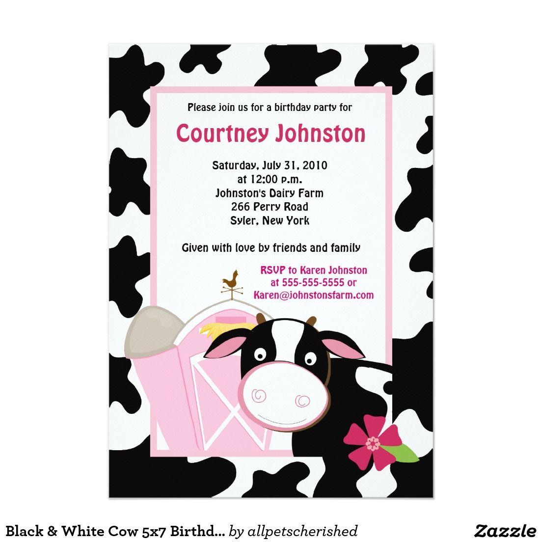 Black & White Cow 5x7 Birthday Invitation | Cow, Birthdays and Black
